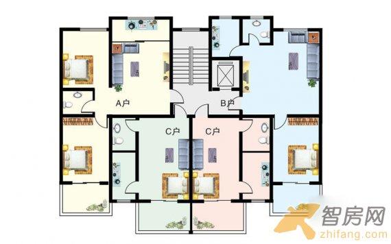 驼梁中台山综合度假区 一梯四户平面图2室1厅1卫1厨 两居 户型图