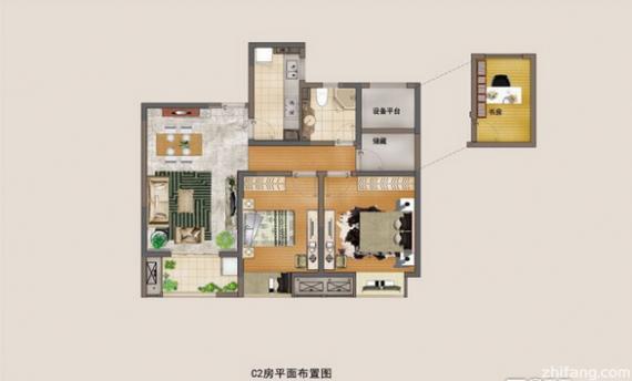 滨江裕花园 95平米2 1房 三居 户型图