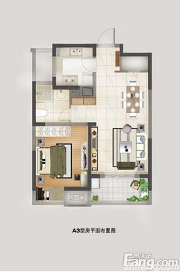 滨江裕花园 70平米一房一厅 一居 户型图